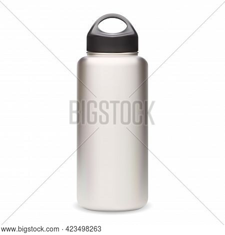 Water Bottle. Thermo Bottle Mockup. Reusable Sport Bottle Vector Blank. Silver Fitness Flask With Bl