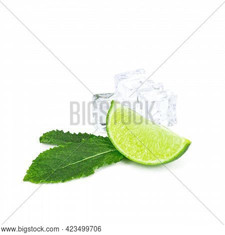 Fresh Green Juicy Limes, Lime Slices, Ice And Mint Leaves Isolated On White Background.