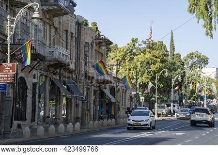 Jerusalem, Israel - June 3rd, 2021: Rainbow Flags Decorate A Jerusalem, Israel, Street, For Pride Pa