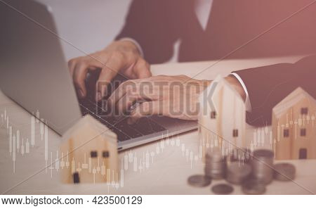 Home Insurance Coverage Estate Residential Concept. Businessman Hand Type The Keyboard Computer, Ins