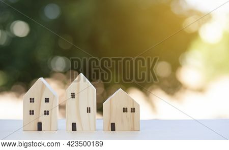 Mini Wood House Model From Model On Wood Table In The Nature Background , Planning Buy Real Estate,