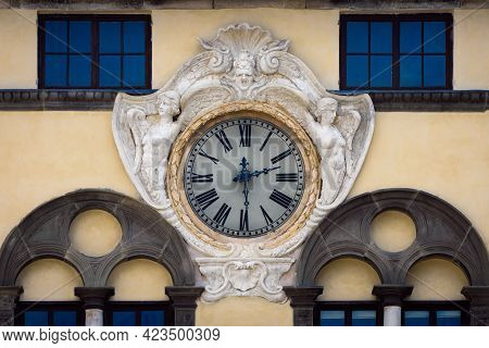 Detail Of The Ancient Renaissance Clock On The Facade Of Palazzo Pretorio, Historical Building In Sa