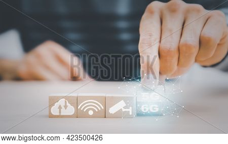 Start Success Business 5g To 6g  Beginning Business Successful, Hand Holding Wood Cubes With Icon An
