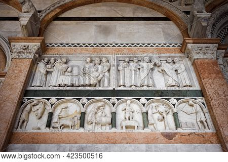 Lucca (tuscany, Italy). Detail Of The Facade Of The Cathedral Of San Martino, With A Medieval Cycle