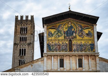 Detail Of The Medieval Mosaic On The Facade Of The Ancient Church Of San Frediano, Romanesque Buildi