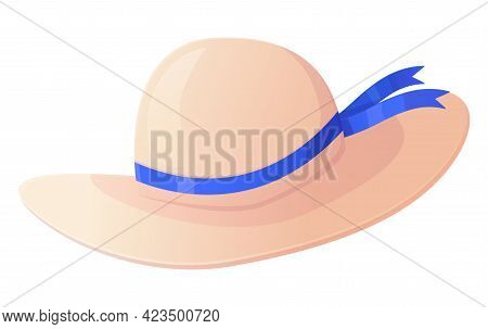 Straw Hat With Blue Ribbon. Summer Vacation, Travel, Tropical Outfit Concept. Stock Vector Illustrat
