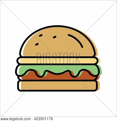 Hamburger. Grilling Food. Vector Icon In Flat Style