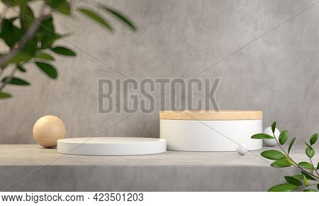 Abstract White And Wood Display Podium, For Show Products, Concrete Cement Background, Blur Foregrou
