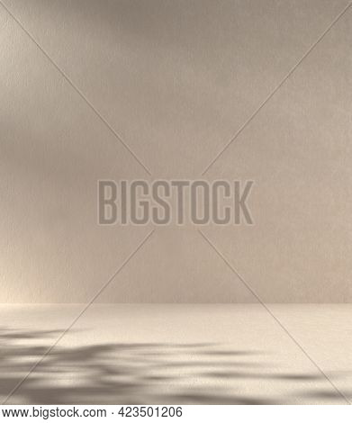 Mockup Minimal Abstract Concrete Wall Background, Beige Color Sunshade Tree Shadow, 3d Render