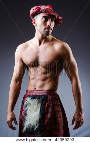 Scottish traditions concept with person wearing kilt poster