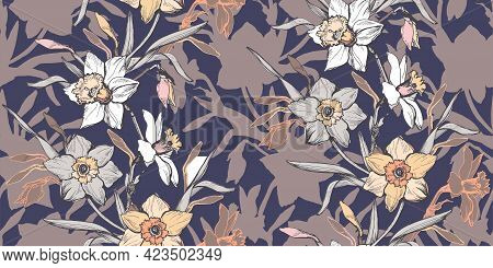 Botanical Trendy Calm Tones Seamless Pattern With Elegant Ink Hand Drawn Flowers Daffodils Narcissus