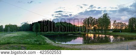 Freshwater Fish Farming Ponds In Vasaknos, Lithuania. Aquaculture And Farmed Fisheries In Lithuania