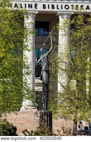Vilnius, Lithuania - May 11, 2021: A Statue