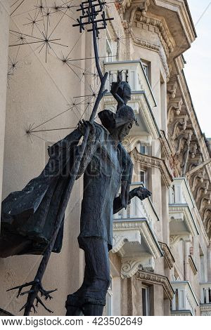 Vilnius, Lithuania - May 11, 2021: Statue Of Saint Christopher By Kazys Kisielis (1996) On The Wall
