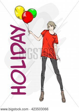 Hand Drawn Beautiful Young Woman  In Red T Shirt. Stylish Girl With Colorful Balloons. Fashion Woman