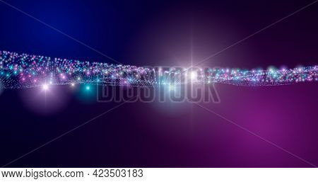 3d Rendering. Fantastic Background Of Bright Glowing Particles In Deep Space. Particle Waves On Blac