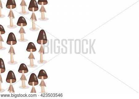 Mushrooms Icon Set Isolated On White Background. Frame With Natural Delicious Fresh Ripe Tasty Fruit
