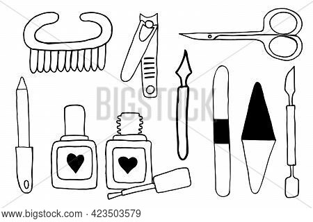 Set Of Tools For Manicure. Hand Drawing Doodle Sketch Illustration Vector. Scissors, Cuticle Nipper,