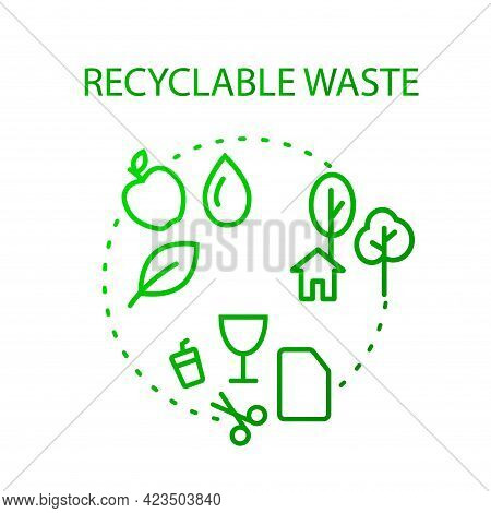 Recyclable Waste Collection Outline Icon. Eco Friendly Trash Sorting. Isolated Vector Stock Illustra