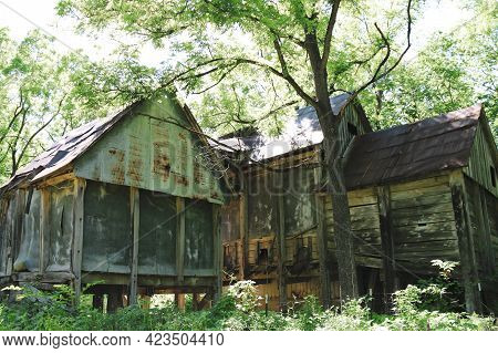 Abandoned Old Deserted Swamp Shack Buildings Damaged By Weather Time And Elements