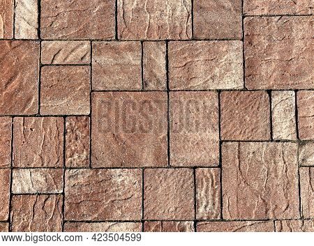 A Square Pattern Style Natural Rock Stone Patio Path Sidewalk Driveway Floor Pattern.