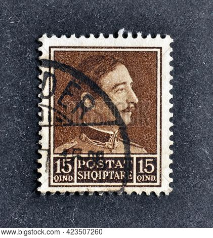 Albania - Circa 1930 : Cancelled Postage Stamp Printed By Albania, That Shows Portrait Of King Zog I