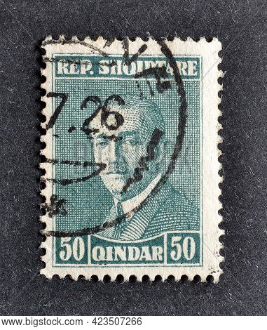 Albania - Circa 1926 : Cancelled Postage Stamp Printed By Albania, That Shows Portrait Of president