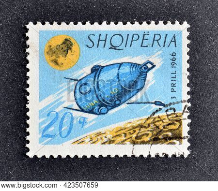 Albania - Circa 1966 : Cancelled Postage Stamp Printed By Albania, That Shows launching Of The 1st