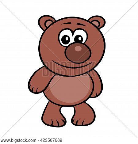 Cute Cartoon Bear Cub On A White Background. Kind Little Teddy. Vector Isolated Illustration
