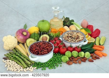 Plant based vegan health food collection for well being very high in dietary fibre, protein, antioxidants, anthocyanins, minerals, vitamins, lycopene and smart carbs. Ethical eating  concept.
