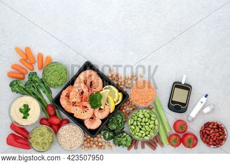Blood sugar testing equipment with metering and lancing devices for diabetics with food below 55 on the GI index. Health foods high in antioxidants, omega 3, protein, vitamins, minerals, smart carbs.