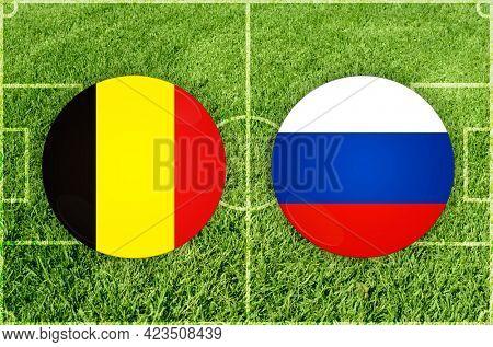 Concept for Football match Belgium vs Russia