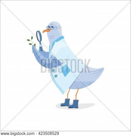 Child Character Seagull Nerd In A White Coat, Glasses And Blue Rubber Boots Examines A Twig Through