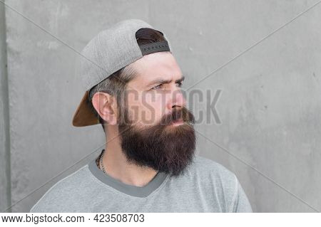 Barber Salon And Facial Hair Care. Hipster Lifestyle. Cool Hipster With Beard Wear Stylish Baseball
