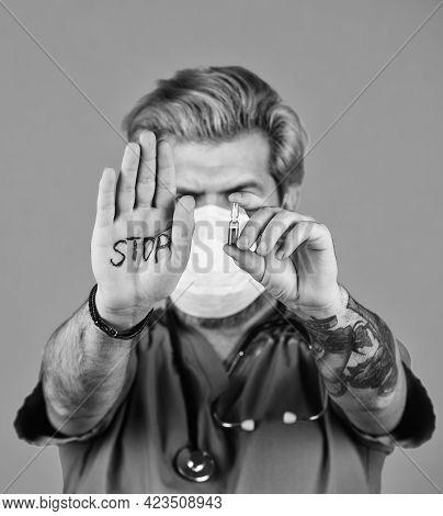 Open Palm Stop Gesture. Stop Epidemic. Virus Concept. Danger Zone. Epidemic Infection. Critical Numb