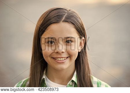 Beauty For Tomorrow. Beauty Look Of Little Girl. Happy Kid Smile Outdoors. Hair Salon. Natural Skinc