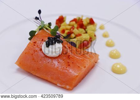 Sous Vide Salmon Dish With Caviar And Crunchy Vegetables, Luxury Fine Dining Food