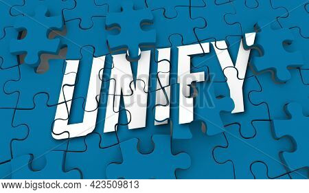 Unify Puzzle Come Together Join Forces Unified Unity 3d Illustration