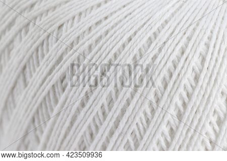 White Cotton Threads For Knitting, Skein Of Yarn, Isolate For Clipping