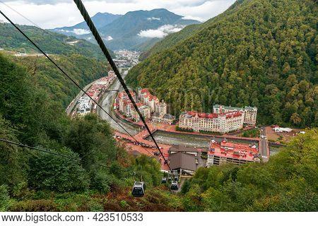 Sochi, Russia - September 30, 2020: Beautiful Scenic Townscape Of Rosa Khutor Mountain Ski Resort Su