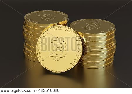 Stack Of Coins With The Bitcoin Symbol And The Text