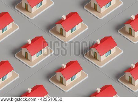 Real Estate Isometric Seamless Pattern. 3d Illustration.