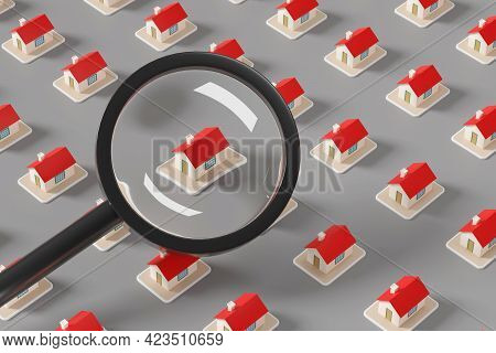 A House Seen Through A Magnifying Glass. Search For Real Estate Concept. 3d Illustration.