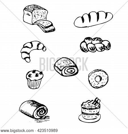 Cooking, Bread And Muffins, Black Outline Drawing Of Bread Products