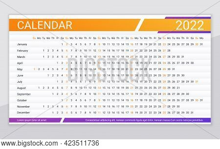 2022 Calendar. Linear Planner Grid. Yearly Horizontal Calender. Vector. Annual Schedule Template Wit