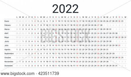 2022 Spanish Calendar. Linear Planner For Year. Vector. Yearly Horizontal Calender Template. Table S