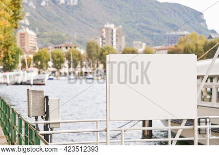 Blank Billboard Mockup For Advertising, Lake Embankment Background. Banner Mock Up Near Lake For Adv
