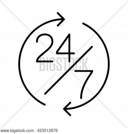24 7 Support Thin Line Symbol, Icon. Vector Illustration