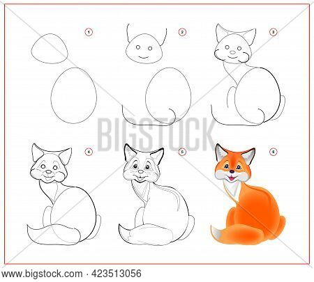 How To Draw Cute Little Fox. Educational Page For Children. Creation Step By Step Animal Illustratio