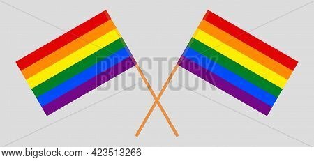Crossed Lgbt Flags. Six Colors. Correct Proportion